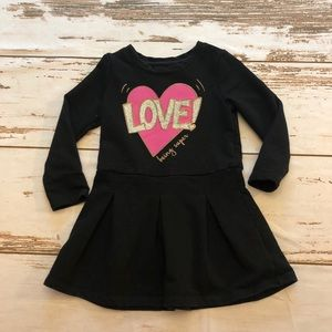 Epic Threads Sweatshirt Dress Black, Pink Heart